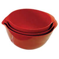 COAST MELAMINE 3PCS RED MIXING BOWL 100% MELAMINE.