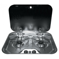 Dometic SMEV 2 Burner Stainless Steel Drop In Cook Top With Glass Lid