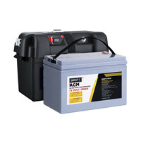 Giantz 12V 100Ah AGM Deep Cycle Battery with Battery Box, Max 1600 Cycles