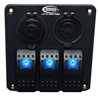 Baintech 3 Way Switch Panel (Blue LED)