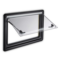 SEITZ: S4 Double Glazed Window With Screen & Blind - Black Frame - 500 x 350mm