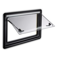 SEITZ: S4 Double Glazed Window With Screen & Blind - Black Frame - 800 x 800mm
