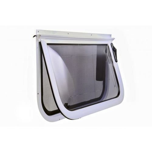 2 Radius Corner Wind Out Window 380mm X 914mm White Frame